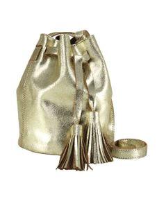 HEINE Damen Leder-Beuteltasche mit Quasten, goldfarben, Größe:0
