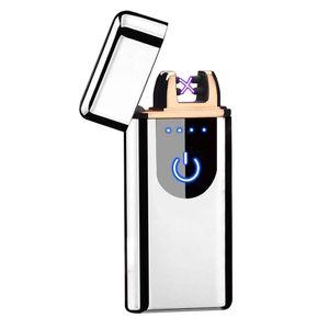 USB Elektrisch Feuerzeug Lichtbogen Touch Sensor Flammenloses  Aufladbar  Silber