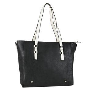 Mytrendshoe Damen Tasche Handtasche 834197, Farbe: Schwarz Weiß, Größe: One size