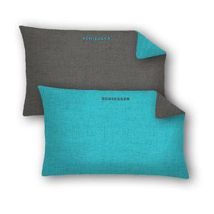 Schiesser Kissenhüllen 40 x 80 cm 2er Pack Doubleface, 100% Baumwolle, Farbe:türkis, Größe:40 x 80 cm