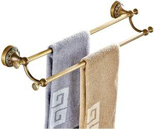 HLLCY  Handtuchhalter Vintage, Handtuchstange 2 Stange Messing, Antik Doppel Handtuchregal Badezimmer Wandmontage mit Bohren Landhausstil Nostalgie - -