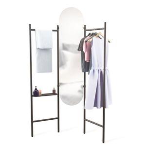 UMBRA Kleiderständer Standspiegel Garderobenspiegel Spiegel Stummer Diener schwarz 1009611-040