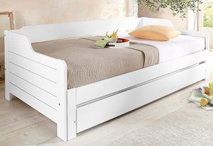 Tagesbettenim Landhaus-Stil, Im ausgeklappten Zustand belastbar bis 2x 80 kg ,ohne Bettkasten(weiß)