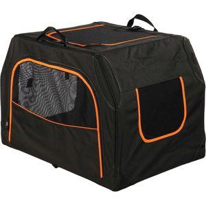 Trixie Mobile Kennel Extend Transport Box Tasche Hunde Schwarz Orange, Größe:S-M - 68 × 47 × 48 cm.
