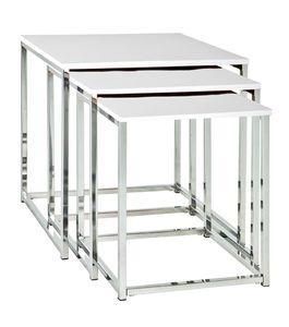 Haku 3-Satz-Tisch, chrom-weiß - Maße: 29/34/39 cm x 29/34/39 cm x 36/39/42 cm; 33383