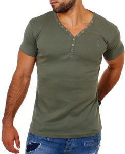 Young & Rich Herren Uni feinripp Basic T-Shirt mit Knopfleiste & tiefem V-Ausschnitt deep V-Neck slim fit einfarbig 1873, Grösse:L, Farbe:Militär-Grün