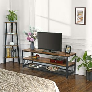 VASAGLE TV Lowboard mit Metallrahmen 140 x 40 x 52 cm TV-Schrank mit 2 Ablagen Fernsehtisch Vintage LTV50BX