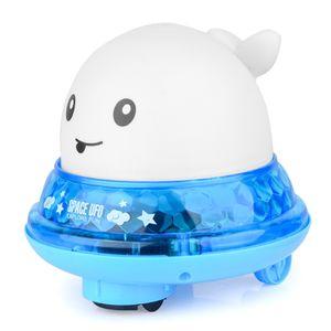 Kinder Schwimmende 2 in 1 Badespielzeug,Wasserspielzeug Automatische Induktions Sprinkler Wal mit Licht und Musik,(Weiß)