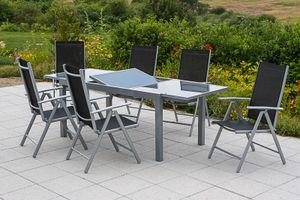 Merxx 7tlg. Amalfi Set, schwarz - 6 Klappsessel, 1 Ausziehtisch - Farbe: schwarz - Maße: Sessel: 65x57x108 Tisch: 140/200x90x75 cm; 6x 26311-317 + 1x 26451-219