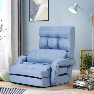 GOPLUS Klappbarer Bodenstuhl mit Armlehnen und Kissen, Comfort Mehrwinkel-Sessel aus Baumwolle, Faules Schlafsofa mit Verstellbarer Rückenlehne für Schlafzimmer, Wohnzimmer, Büro (Blau)