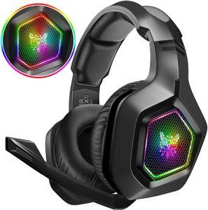 Gaming-Headset, geeignet für PS4 PC Xbox One, RGB-Beleuchtung und kabelgebundenes Surround-Stereo-Headset mit einstellbarem Mikrofon