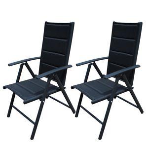 2er Set Gartenstuhl Aluminium schwarz Stühle verstellbar Hochlehner verstellbar Alu Gartenstuhl