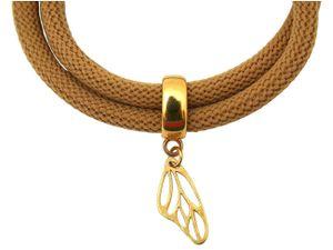 Damen Armband Wickelarmband 925 Silber Vergoldet Schmetterling Braun
