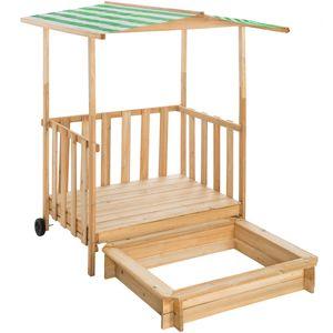 tectake Sandkasten und Spielveranda mit Dach Gretchen - grün