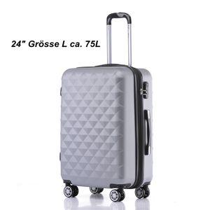 Reise Koffer Hartschalenkoffer Trolley Reisekoffer L Silber 4 Rollen Roll-Koffer Handgepäck