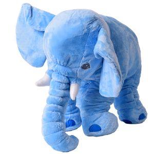 TE-Trend XXL Elefant Kuscheltier Einschlafen Deko Kissen Kleinkind Plüschelefant Plüsch Stoff 68 cm groß Blau Hellblau S