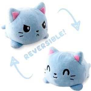 Doppelseitige Flip Katze Puppe Plüschtier Niedlichen Flip Sanft  Plüsch Katze-Blaue Katze 15cm