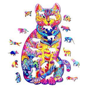 Holzpuzzle Regenbogen Katze Cartoon-Puzzle für Erwachsene Kinder Spielzeug Stichsäge