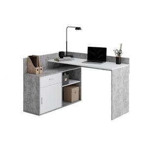 Schreibtisch Winkelschreibtisch Eckschreibtisch Home Office RUST Beton grau / Weiß
