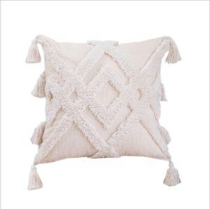 Kissenbezug Boho Kissenhülle mit Quasten in beige mit Reißverschluss Dekokissen 45x45cm