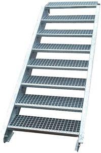 Stahltreppe verzinkt 8 Stufen Geschosshöhe 120-160cm / Stufenmaße 80 cm x 24 cm