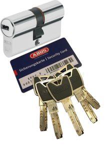 ABUS XP20S Doppelzylinder Länge (a/b) 40/55mm (c=95mm) mit Sicherungskarte und 5 Schlüssel mit Design-Clip, Not-u. Gefahrenfunktion und SKG** Bohrschutz