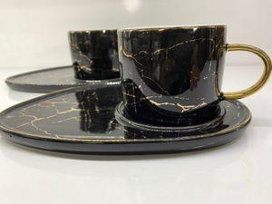Zellerfeld 12tlg. Kaffeeservice Kaffee Service Tassen Untertassen Marmor Design 200ml Schwarz/Gold (TRM-2879-2)