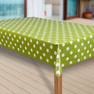 Wachstuch-Tischdecke Wachstischdecke Tischwäsche Abwaschbar Wachstuchdecke  35 , Muster:Punkte grün, Größe:130x200 cm