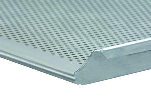 Alu-Lochblech mit 3 Seiten Rand, Backblech Maß:60x40x2cm