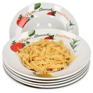 6er Pastateller-Set Milano Aufdruck Ø27cm Porzellan-Teller Gastro Nudeln Pasta Gnocchi Spaghetti