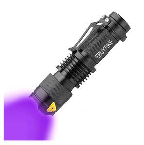 LED UV Taschenlampe 395 365 UV-LED-Licht Q5 weißes Licht Taschenlampe Zoomable Ultra Violet Light wiederaufladbare Lampe Außenbeleuchtung