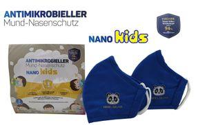2x WASCHBARE NANOSILBER Blau NANO KIDS Mädchen Jungen Kinder Maske Behelfsmaske Kindermaske Baumwolle ATEMSCHUTZMASKE MUNDSCHUTZ KINDER MASKE 3LAGIG gesponsert von Antiviron