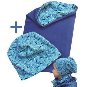 HECKBO® Kinder Jungen Beanie Mütze & Loop-Schal Set | geeignet für Frühling, Sommer, Herbst | Wendemütze Hai Shark | 2 bis 7 Jahren | 95% Baumwolle | weiches & pflegeleichtes Stretch-Material
