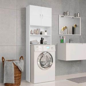 Waschmaschinenschrank Weiß 64x25,5x190 cm Spanplatte