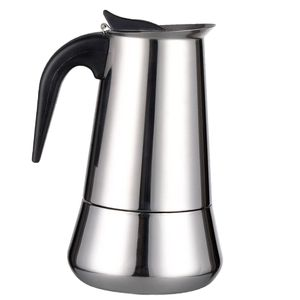 Edelstahl Kochfeld Moka Espresso Kaffeemaschine Topf Kaffeemaschine 2 Tasse Silber Espressokocher