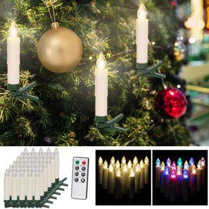 DEUBA Weihnachtsbaumkerzen Kabellos LED mit Batterie Fernbedienung Dimmbar Flackern Timer Christbaumkerzen Weihnachtskerzen, Anzahl/Farbe:30er / warm weiß