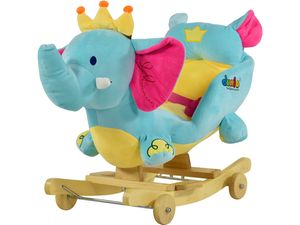 Dunjo® Schaukeltier Elefant mit Sitz, Rollen und Musik, Schaukelpferd mit Plüsch für Kleinkinder und Babys