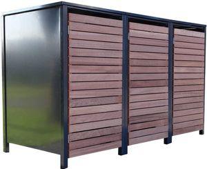 3 Premium Tailor-Mülltonnenboxen für 240 Liter Tonnen Anthrazit / Front-Edelholz