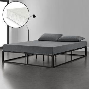 Metallbett mit Matratze 200x200cm Schwarz auf Stahlrahmen mit Lattenrost Bettgestell Design Ehebett Doppelbett Schlafzimmer [en.casa]