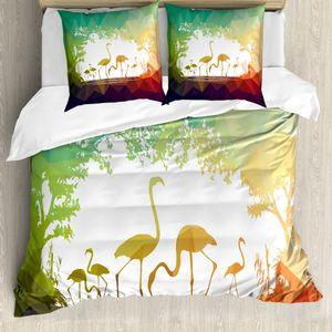 ABAKUHAUS Flamingo Bettbezugs Set Für Doppelbetten, Modern Mehrkantig Tiere, Milbensicher Allergiker geeignet mit Kissenbezügen, Mehrfarbig