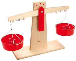 Holzwaage inklusive 2 Holzboxen mit jeweils 4 Gewichten