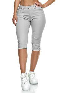 Damen Capri Jeans Big Size 3/4 Shorts Stretch Bermuda Hose, Farben:Grau, Größe:42