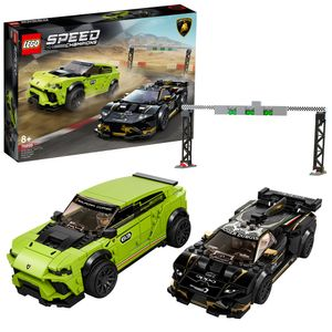 LEGO 76899 Speed Champions Lamborghini Urus ST-X & Lamborghini Huracán Super Trofeo EVO, Bausatz für Modellautos, Spielzeugautos, Rennautos