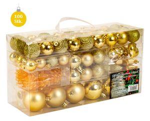 100 teiliges Set Lamettini Gold Weihnachtskugeln Spitze Lametta Anhänger
