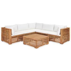 vidaXL 6-tlg. Garten-Lounge-Set mit Auflagen Massivholz Teak