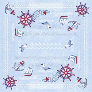 Tischdecke Meeresbrise in Blau aus Linclass® Airlaid 80 x 80 cm, 20 Stück - Mitteldecke Maritim