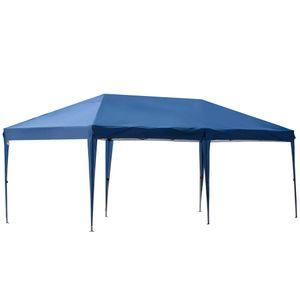 Outsunny Faltpavillon Pop-up Pavillon 6 x 3m Gartenzelt höhenverstellbar UV-schutz mit Tasche Metall-Verstrebungen Dunkelblau