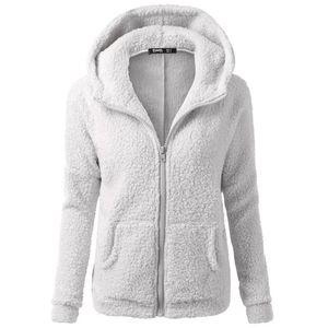 Frauen Kapuzenpullover Mantel Winter Warme Wolle Reißverschluss Mantel Baumwollmantel Outwear Größe:XXXL,Farbe:Hellgrau