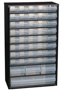 raaco Kleinteilemagazin Breite 306 x Tiefe 150 x Höhe 510mm 44 Schubladen mit Aufhängeloch Stahlgehäuse / PP - 132114  CABINET C 44