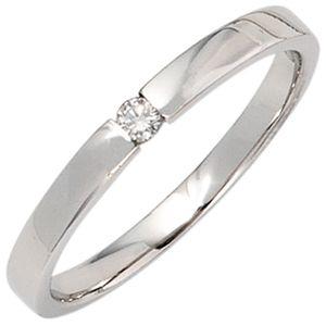 Solitär Ring Damenring mit Diamant Brillant schlicht 585 Gold Weißgold, Ringgröße:Innenumfang 56mm  Ø17.8mm